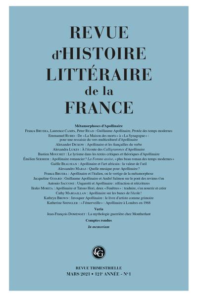 Revue d'histoire littéraire de la France 2021 / 1:
