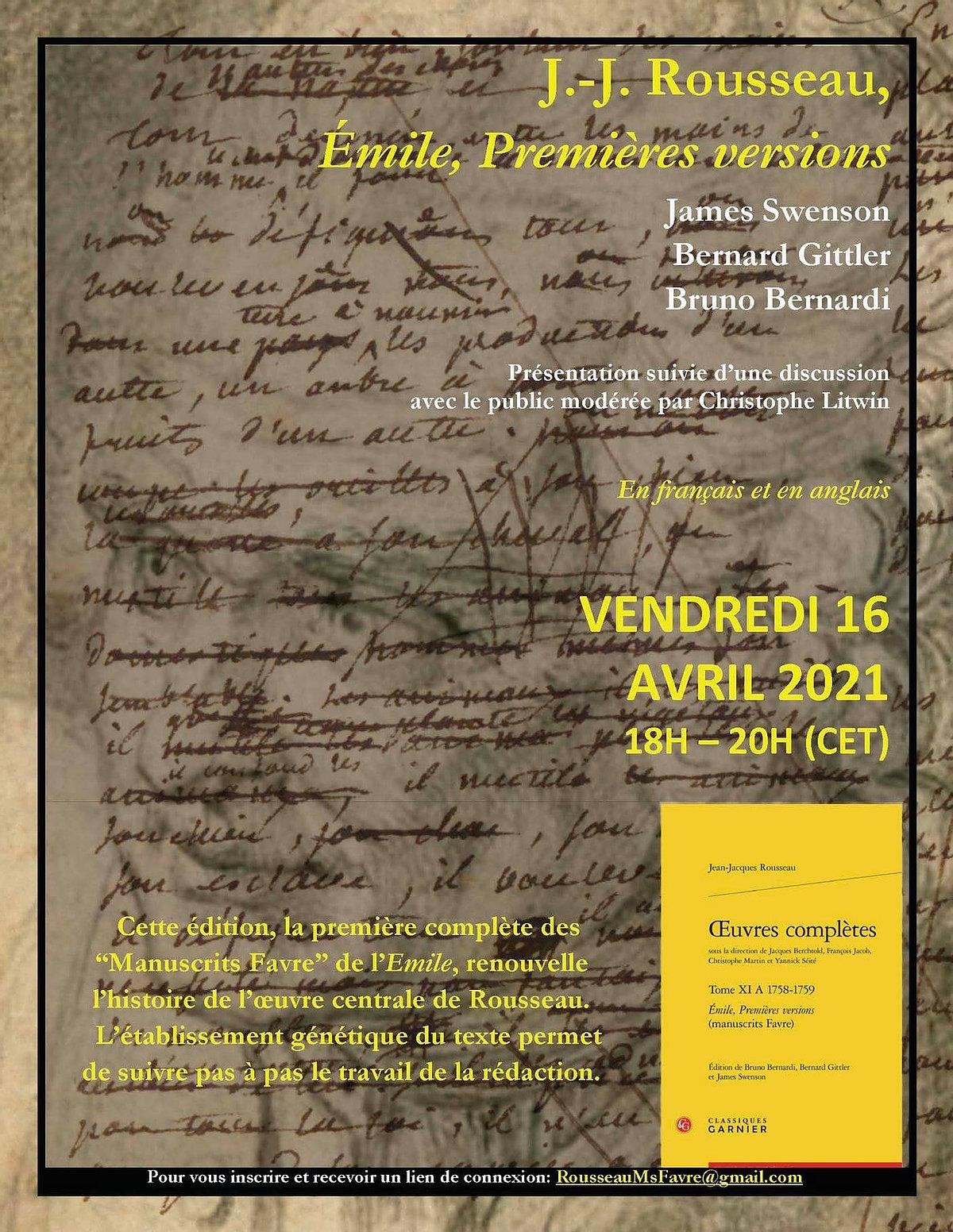 Émile, premières versions (Société J.-J. Rousseau, en ligne)