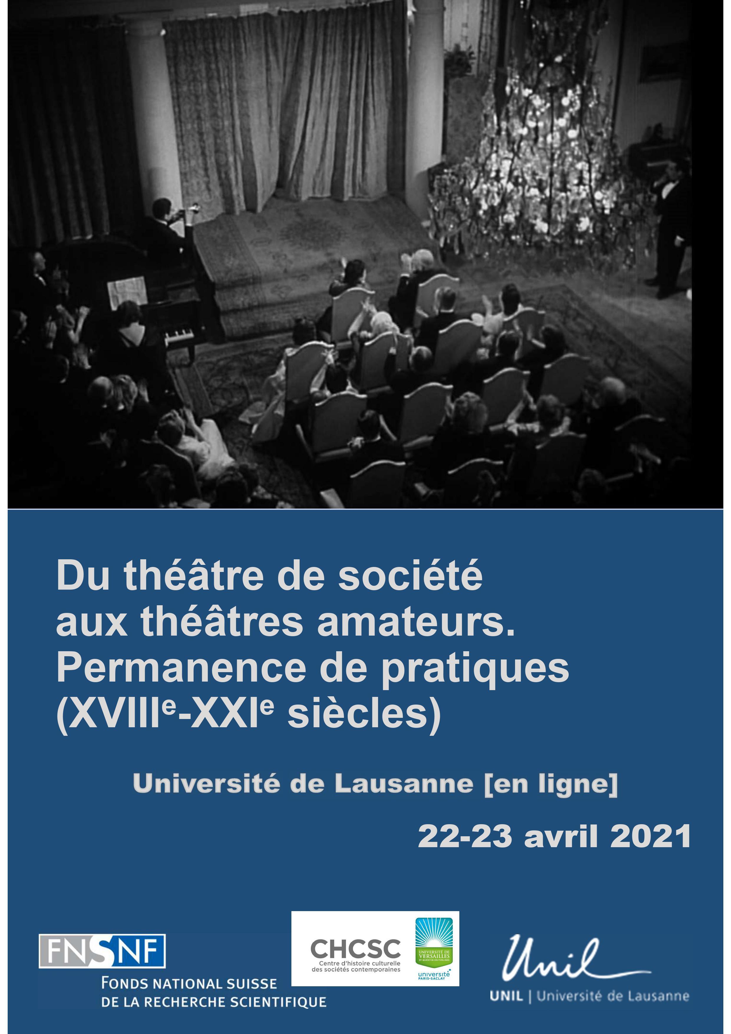 Du théâtre de société aux théâtres amateurs. Permanence de pratiques. XVIIIe-XXIe s. (Lausanne, en ligne)
