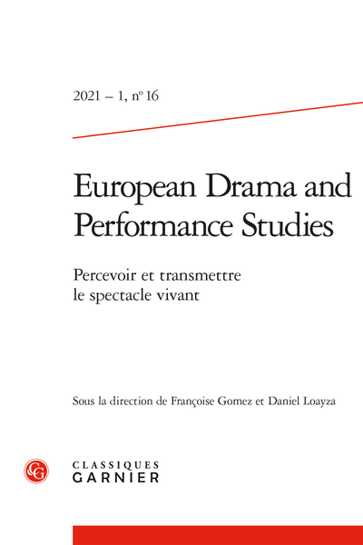 European Drama and Performance Studies, n° 16 :