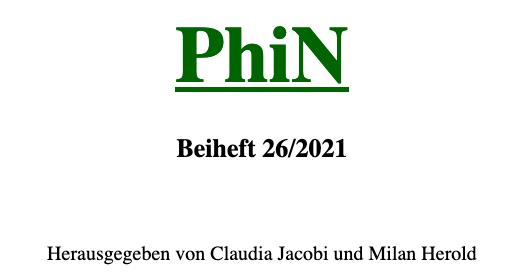 PhiNBeiheft, n°26 :