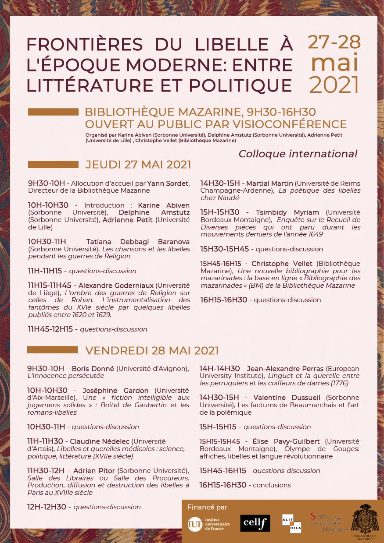 Frontières du libelle à l'époque moderne : entre littérature et politique
