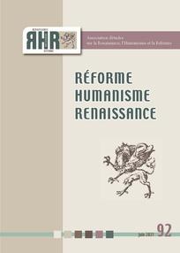 Réforme, Humanisme, Renaissance (RHR), n° 92, 2021/1