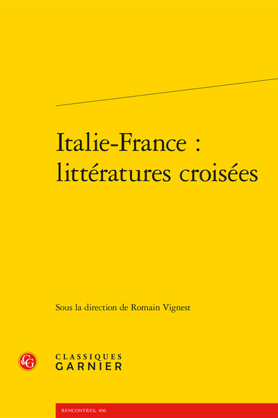 R. Vignest (dir.), Italie-France : littératures croisées