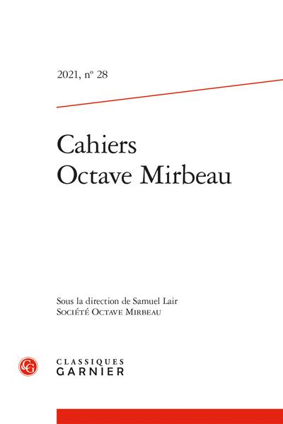 Cahiers Octave Mirbeau 2021, n° 28
