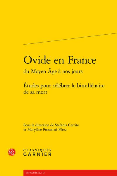 Ovide en France du Moyen Âge à nos jours, Études pour célébrer le bimillénaire de sa mort