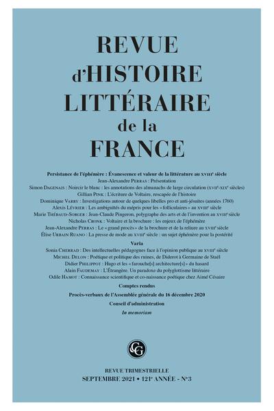 Revue d'Histoire littéraire de la France 3 – 2021, 121e année, n° 3 varia