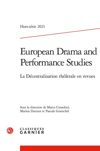 European Drama and Performance Studies, Hors-série: