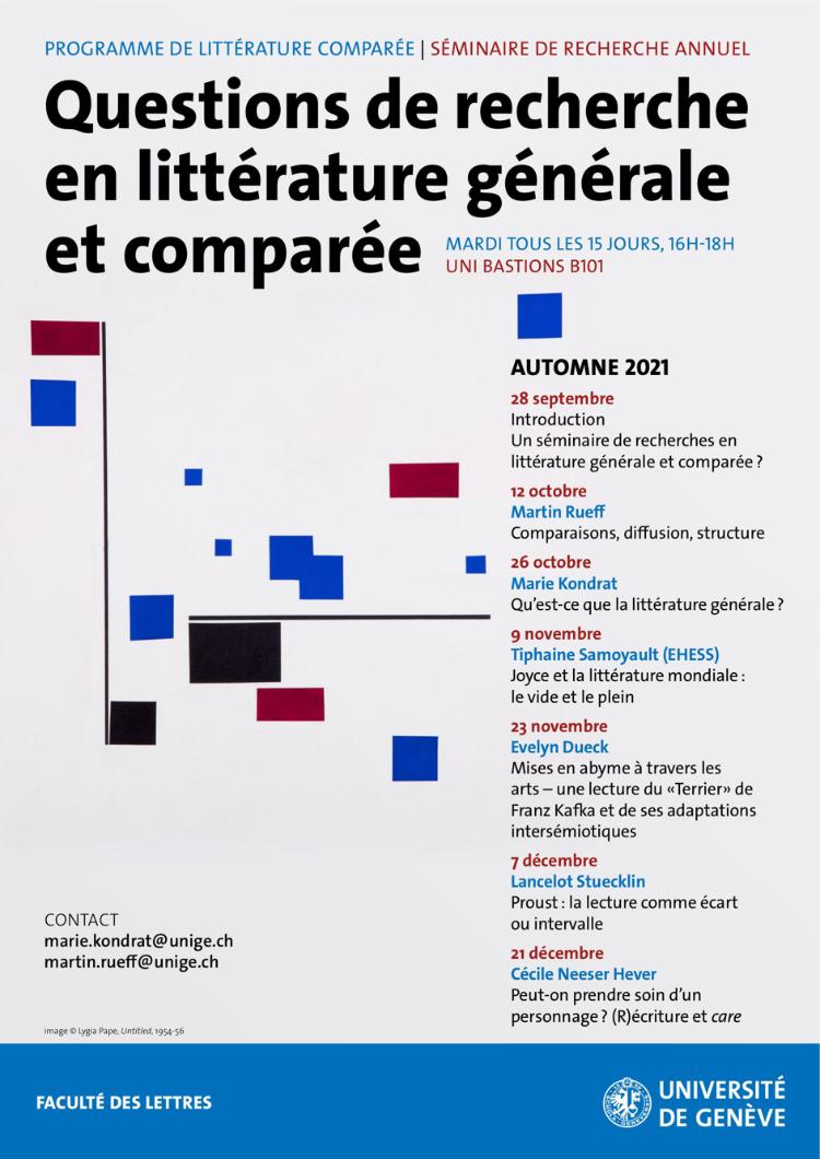 Séminaire Questions de recherche en littérature générale et comparée, Université de Genève