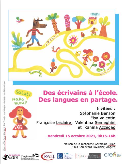 Journée d'études. Des écrivains à l'école. Des langues en partage (Angers & en ligne)
