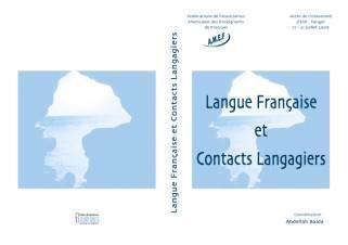 Langue française et contacts langagiers, Abdellah Baida (dir.)