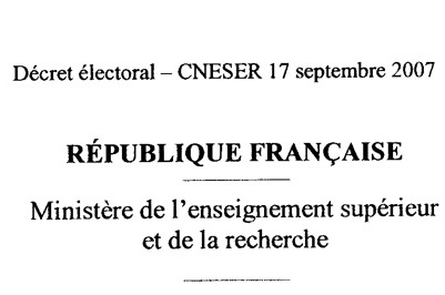 Projet de décret électoral d'application de la loi Pécresse