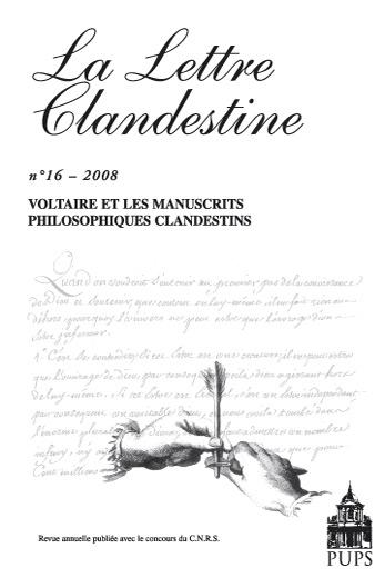 La Lettre clandestine n°16: Voltaire et les manuscrits philosophiques clandestins