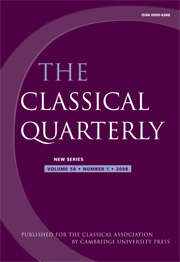The Classical Quaterly, 58, 1 (2008).