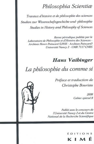 H. Vaihinger, La Philosophie du comme si