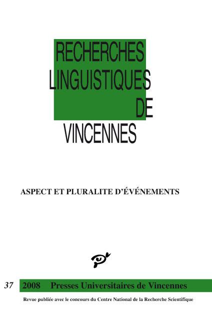Recherches linguistiques de Vincennes n°37