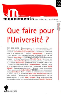<em>Mouvements</em> n° 55-56, <em>Que faire pour l'Université?</em>