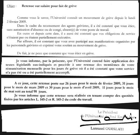 Les premières retenues de salaire tombent à Toulon (Poolp - <em>Libération </em>&amp;<em> Var matin</em> 15/05/09)