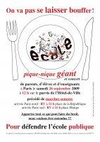 Pique-nique géant parents-enfants-enseignants pour défendre l'école publique le 26/09/09