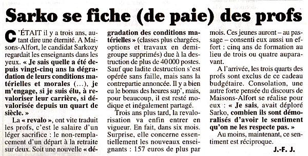 Luc Chatel promet 10% d'augmentation aux nouveaux profs titularisés (dossier - màj 01/05/10)