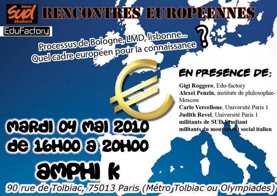 Rencontres européennes: Quels contours pour un espace d'éducation supérieur européen? (04/05/10)