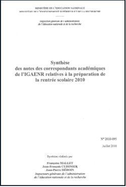 Rentrée 2010 : le rapport qui contredit Luc Chatel (màj 19/09/10)