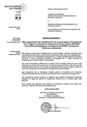 Appels à candidatures pour les enseignants du primaire. pour assurer les remplacements dans le secondaire (dossier màj 14/10/10)