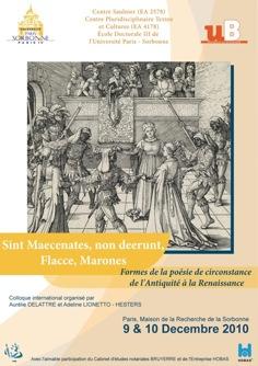 Sint Maecenates, non deerunt, Flacce, Marones. Formes de la poésie de circonstance de l'Antiquité à la Renaissance
