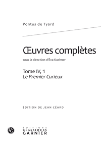 Pontus de Tyard, Oeuvres complètes, Tome IV, 1
