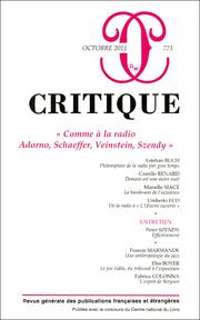 Critique, n°773 :