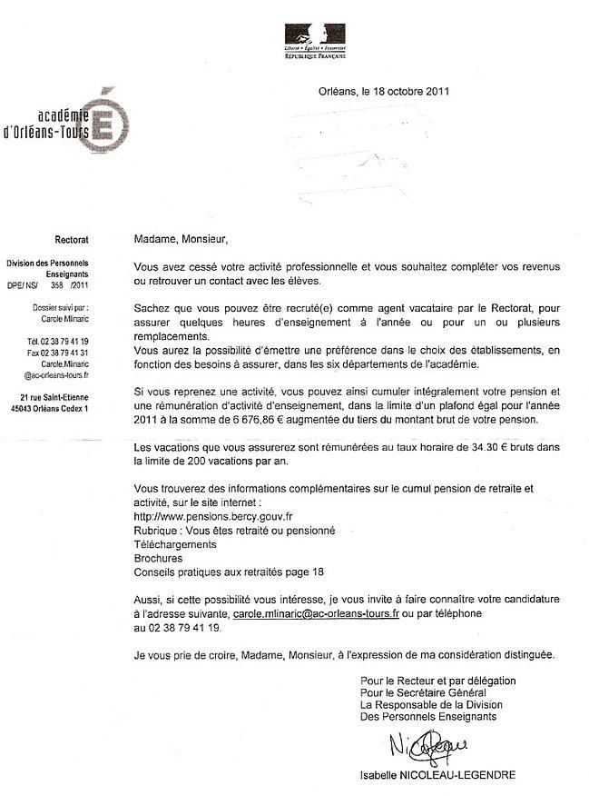 Des retraités recrutés comme vacataires par le rectorat d'Orléans (novembre 2011)