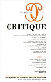 Critique, n° 775