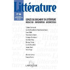 Littérature nº 166: Usages du document en littérature