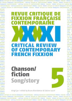 <em>Fixxion</em>, 5: <em>Chanson/fiction</em> (dir. B. Blanckeman et S. Loucif)