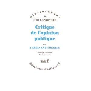 F. Tönnies, Critique de l'opinion publique