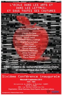 Sixième Conférence inaugurale du CRIST : «L'École dans les arts et dans les lettres, et sous toutes ses coutures»
