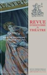 Revue d'Histoire du Théâtre, n°259 :