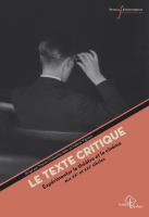 M. Chénetier-Alev et V. Vignaux (dir.), Le Texte critique. Expérimenter le théâtre et le cinéma aux XXe et XXIe siècles