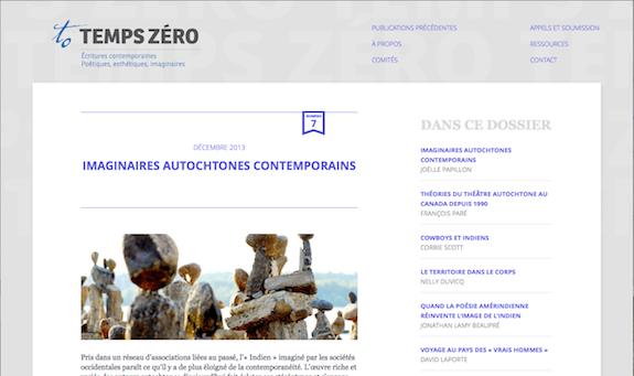 « Imaginaires autochtones contemporains », dossier de la revue <em>temps zéro</em>
