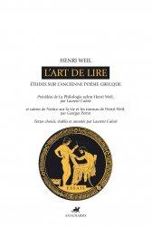 H. Weil, L'Art de lire. Etudes sur l'ancienne poésie grecque (L. Calvié, éd.)