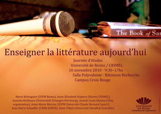 L'objet littérature aujourd'hui : Enseigner la littérature aujourd'hui