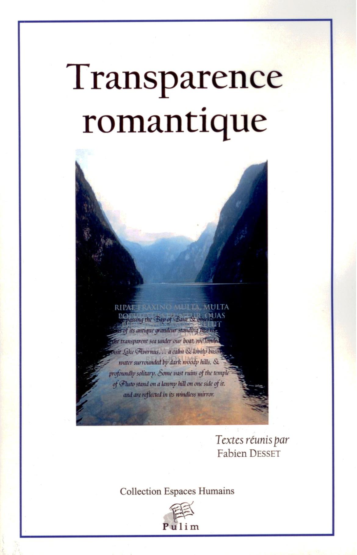 F. Desset (dir.), Transparence romantique