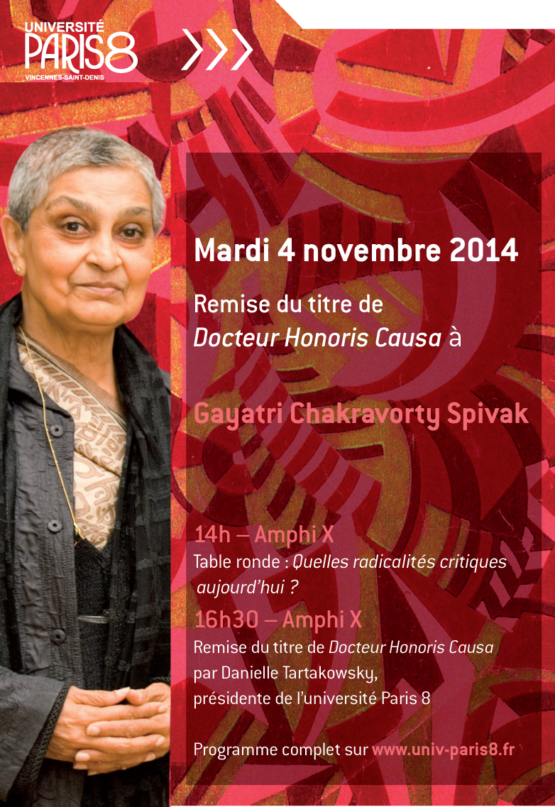 Remise du titre de Docteur Honoris Causa de l'Univ. Paris 8 à G. C. Spivak
