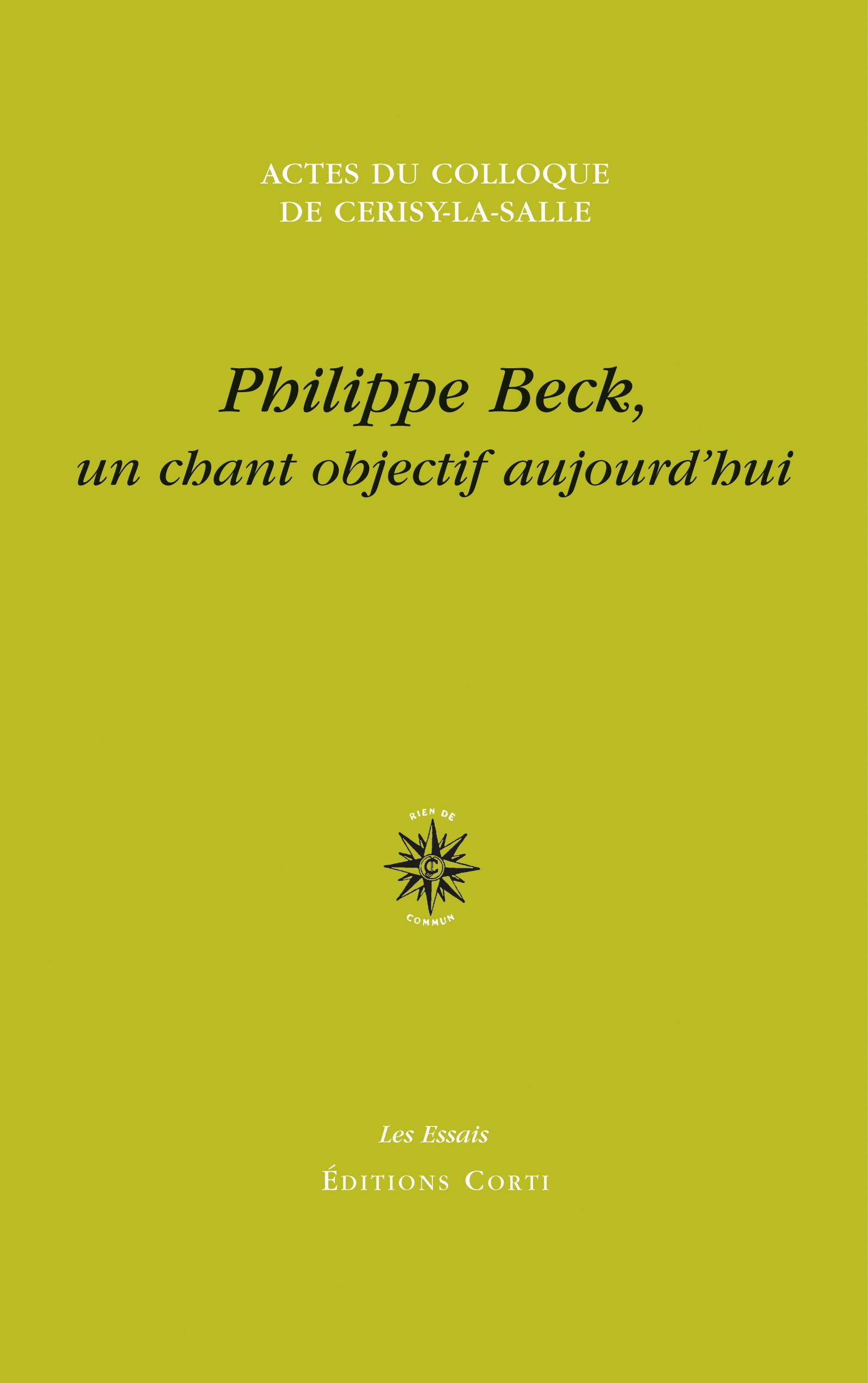 I. Barberis & G. Tesson (dir.), Philippe Beck, un chant objectif aujourd'hui