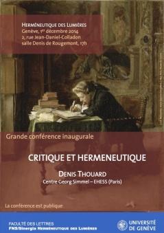 Critique et Herméneutique, conf. de D. Thouard (Genève)