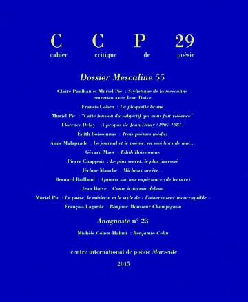 Cahier Critique de Poésie, 03/2015: