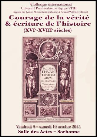 Courage de la vérité et écriture de l'histoire (XVIe-XVIIIe siècles)