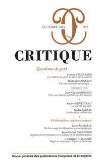 Critique, n°821 (octobre 2015): «Questions de goût»