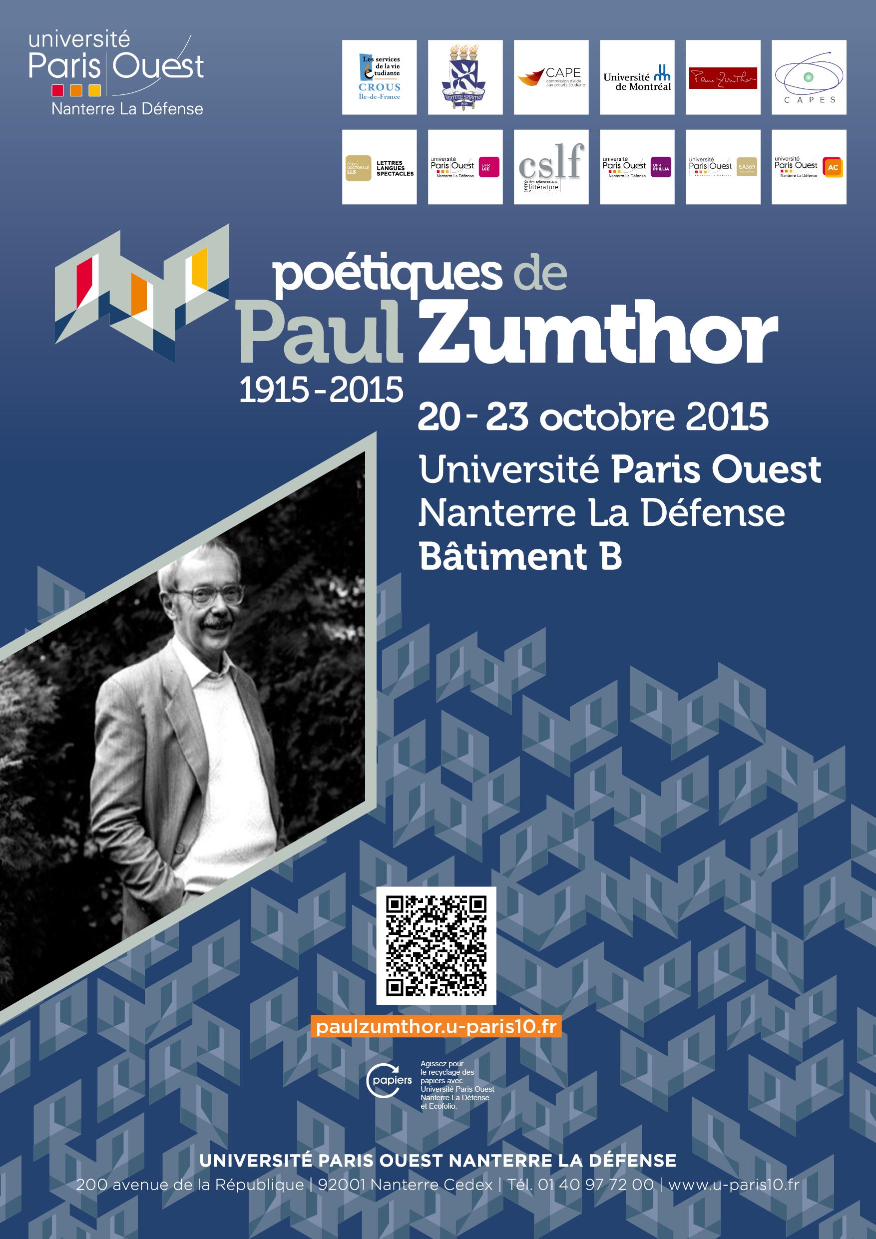 Poétiques de Paul Zumthor (1915-2015, Nanterre)
