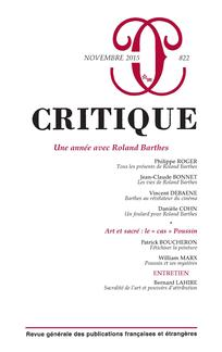Critique, n°822 (2015): Une année avec Roland Barthes